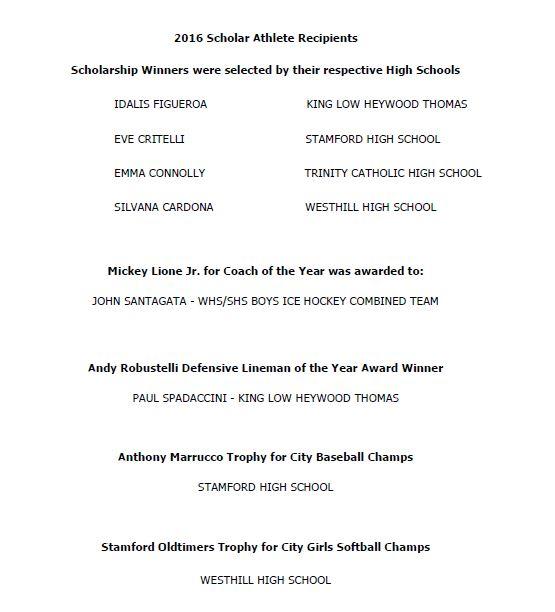 Scholar Athlete Recipients 2016